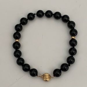 Vintage 14K Gold Black Onyx Beaded Bracelet